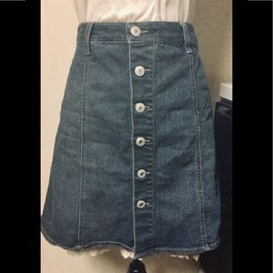Button Up Denim A-Line Mini Skirt, Sz. 10